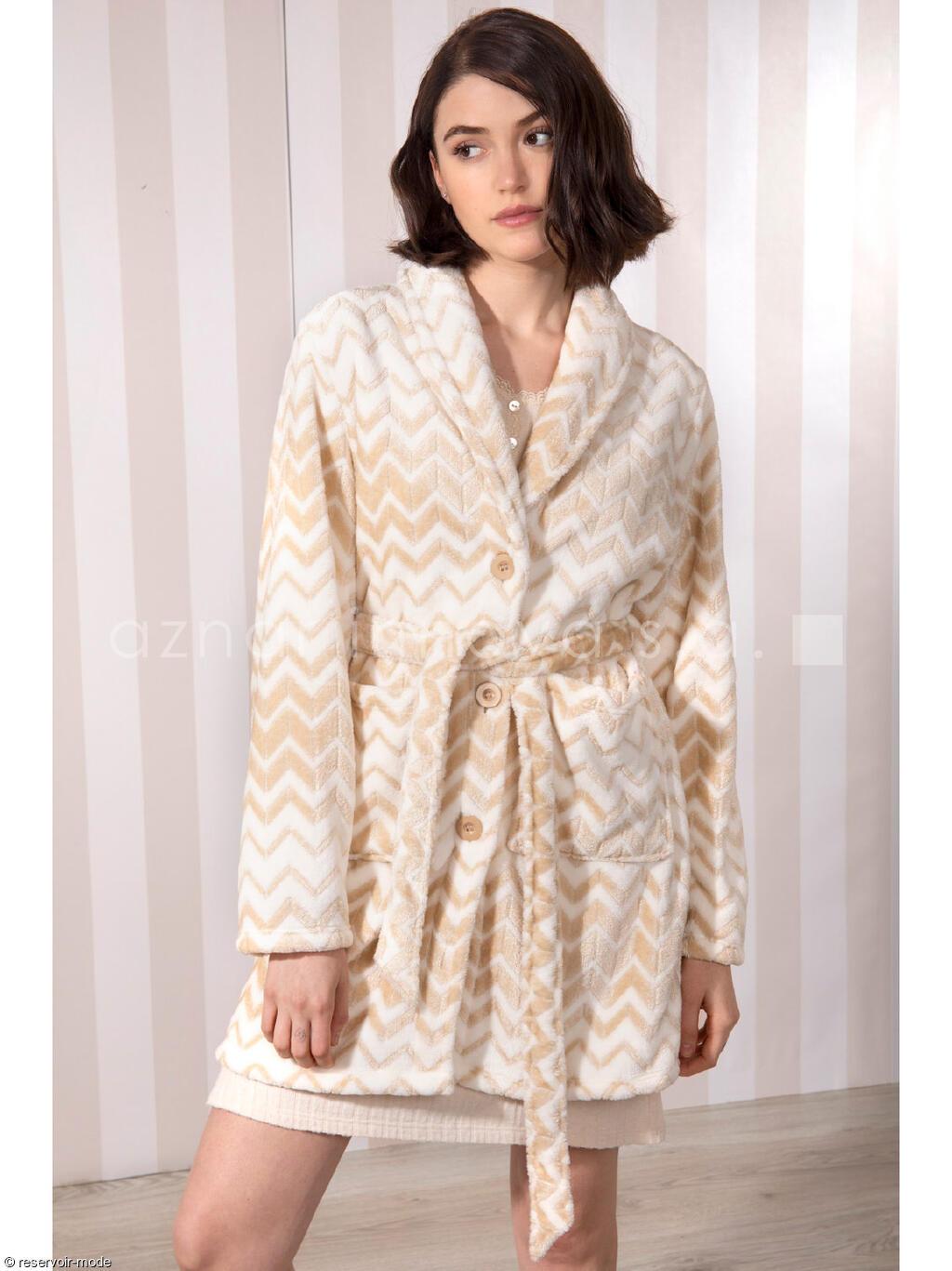 Robe De Chambre Polaire Zigzag Admas Reservoir Mode Lingerie Femme Et Homme
